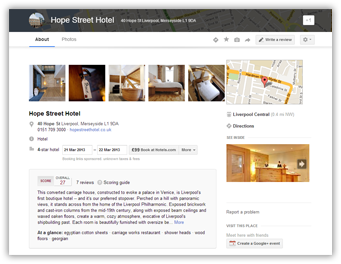 Hope Street Hotel Google Plus Local